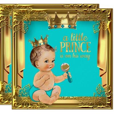 Turquoise Teal Brunette Prince Baby Shower Invitation