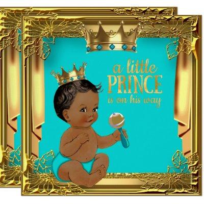 Turquoise Teal Ethnic Prince Baby Shower Invitation