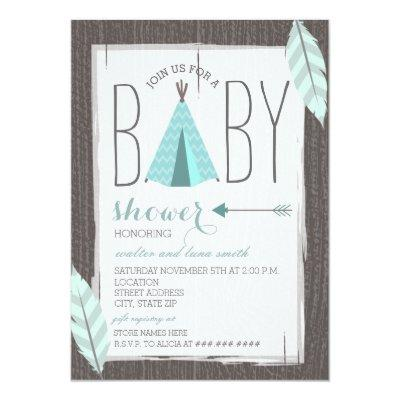 Turquoise Tipi  Feathers Invitations