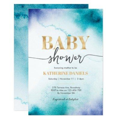 Turquoise Watercolor Baby Shower Invitation