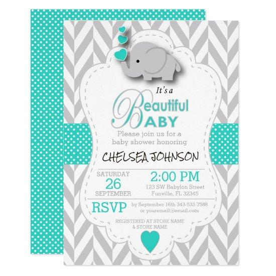 Turquoise, White Gray Elephant Baby Shower Card