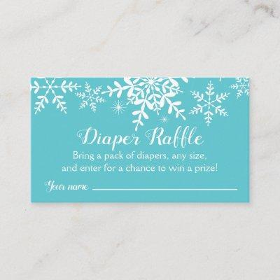 Turquoise Winter Baby Shower Diaper Raffle Ticket Enclosure Card