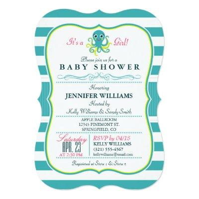 Turquoise & Yellow Octopus Baby Shower Invitations