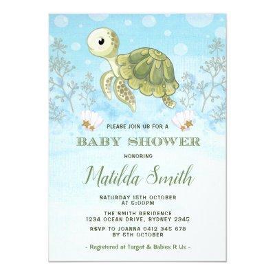 Sea Turtle Baby Shower Baby Shower Invitations Baby Shower Invitations
