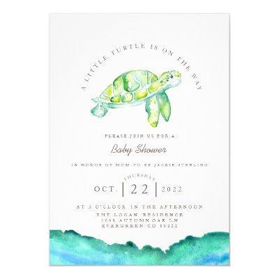 Turtle Watercolor | Ocean Life Baby Shower Invitation