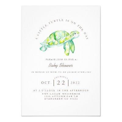 Turtle Watercolor   Ocean Life Baby Shower Invitation