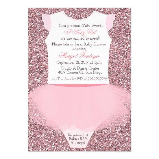 Tutu Ballerina Glitter Baby Shower Invitations