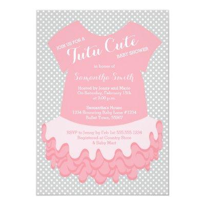 Tutu Cute Baby Shower Invitations Pink and Grey