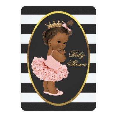 Tutu Cute Ethnic Princess Black White Stripes Invitations