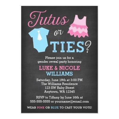 Tutus or Ties Gender Reveal Party
