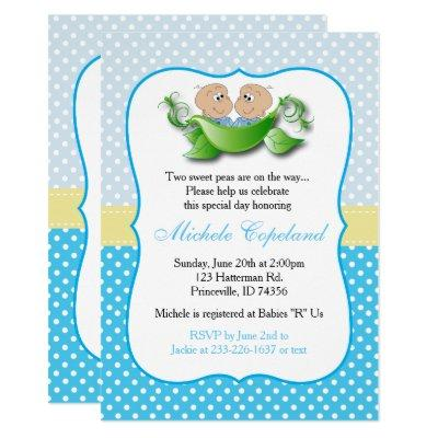 Twin Baby Boy Shower - Two Peas In A Pod Invitation