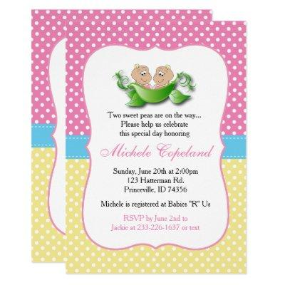 Twin Baby Girl Shower - Two Peas In A Pod Invitation
