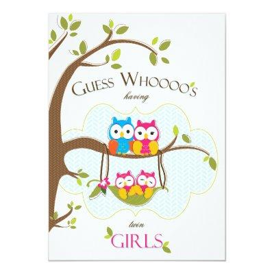 Twin Baby Girls Shower Invitations - Owl Family