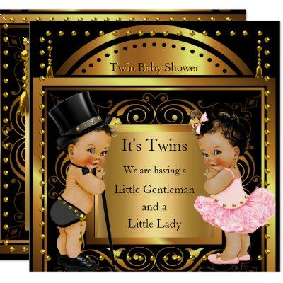 Twin Baby Shower Boy and Girl Gold Brunette Invitations