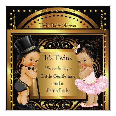 Twin Boy and Girl Gold Brunette Invitations
