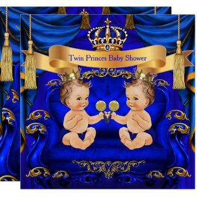 Twin Baby Shower Boy Prince Blue Gold Invitations