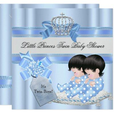 Twin Baby Shower Boys Blue Little Prince Crown 3C Invitations