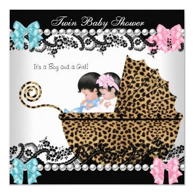 Twin Baby Shower Cute Girl Pink Boy Blue Leopard Invitations