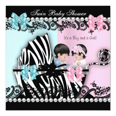Twin Cute Girl Pink Boy Blue Zebra 2 Invitations