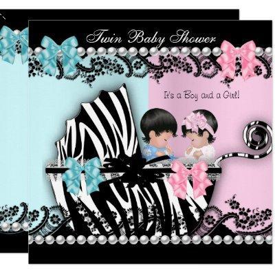 Twin Baby Shower Cute Girl Pink Boy Blue Zebra 2 Invitation