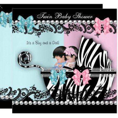 Twin Baby Shower Cute Girl Pink Boy Blue Zebra 3 Invitation
