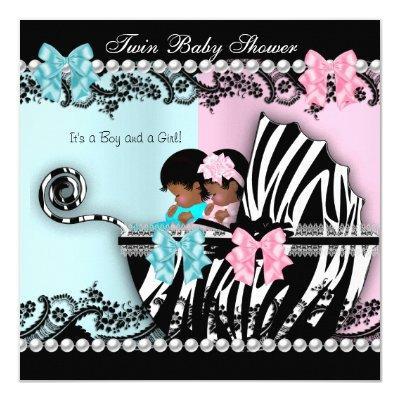 Twin Cute Girl Pink Boy Blue Zebra 4 Invitations