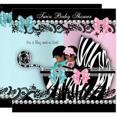 Twin Baby Shower Cute Girl Pink Boy Blue Zebra 4 Invitations