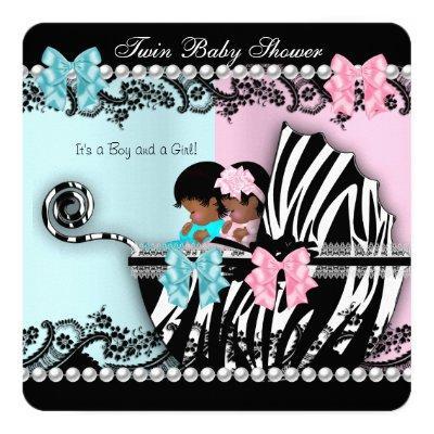 Twin Baby Shower Cute Girl Pink Boy Blue Zebra 4 Invitation