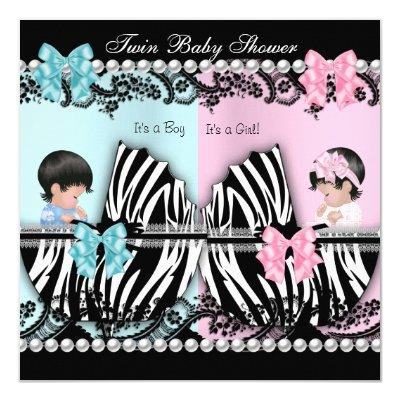 Twin Cute Girl Pink Boy Blue Zebra Invitations