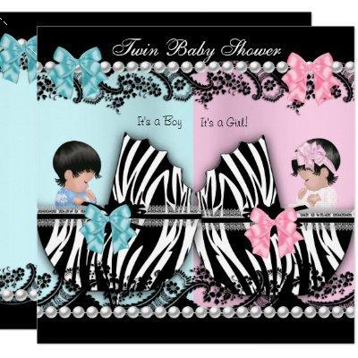 Twin Baby Shower Cute Girl Pink Boy Blue Zebra Invitation