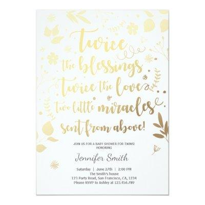 Twin Baby Shower Invitations Gold white Blessings