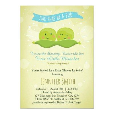 Twin Baby Shower Invitation Two Peas In A Pod Blue