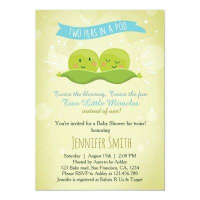 Twin Invitations Two Peas In A Pod Blue