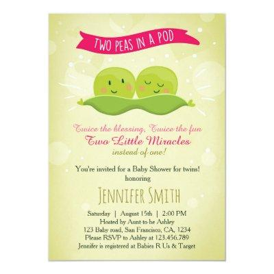 Twin Invitations Two Peas In A Pod Pink