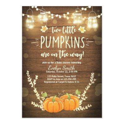 Twin Baby Shower invite Little Pumpkins Fall Twins