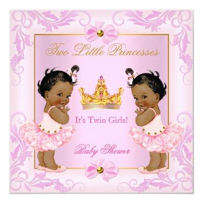 Twin Baby Shower Princess Tiara Girl Pink Ethnic Invitations