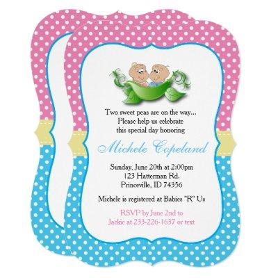 Twin Baby Shower - Two Peas In A Pod Invitation