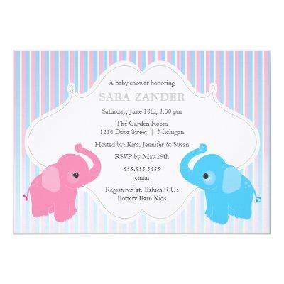 Twin Boy and Girl Elephant Invitations