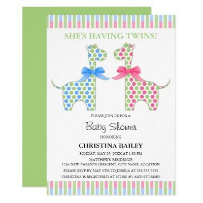 Twin Boy and Girl Giraffe Baby Shower Invitation