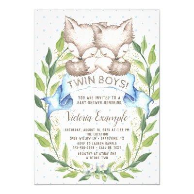 Twin Boy Baby Shower Invitations With Foxes