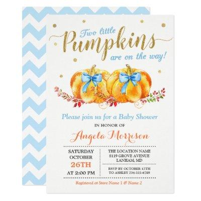 Twin Boy Baby Shower Two Little Pumpkins Blue Invitation