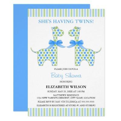 Twin Boy Giraffe Baby Shower Invitation