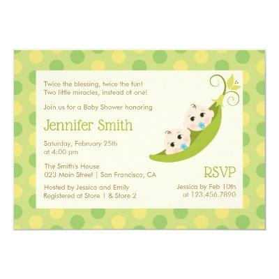 Twin Boys Baby Shower Invitation Two Peas In A Pod