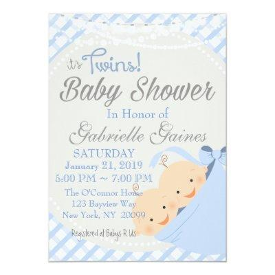 Twin Boys Country Charm Baby Shower Invitation