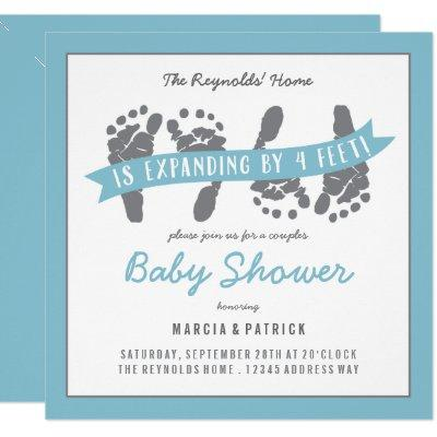 Twin Boys Couples Shower Blue and Gray