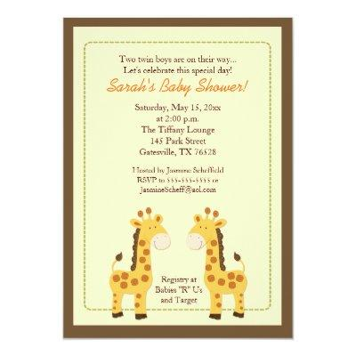 Twin Boys Giraffe Baby Shower Invitation