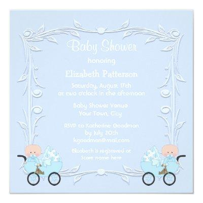 Twin Boys in Carriages Blue Baby Shower Invitation