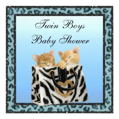 Twin Boys Kittens Blue Leopard Print Baby Shower Invitations