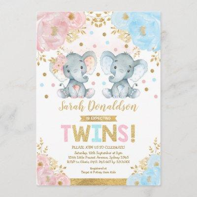 Twin Elephant Baby Shower Boy & Girl Twins Invitation