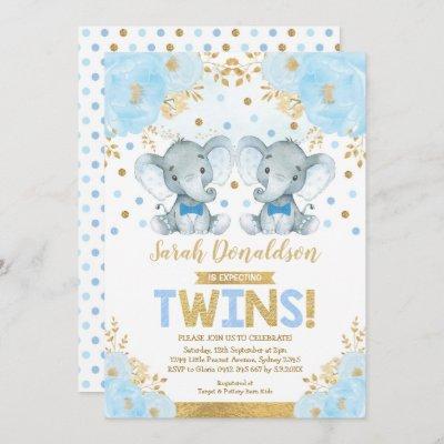 Twin Elephant Boys Little Gentlemen Baby Shower Invitation